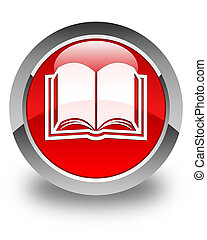 Book icon glossy red round button