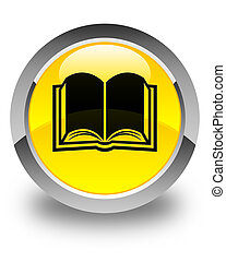 Book icon glossy yellow round button