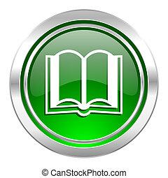 book icon, green button