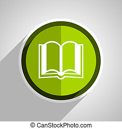 book icon, green circle flat design internet button, web and mobile app illustration