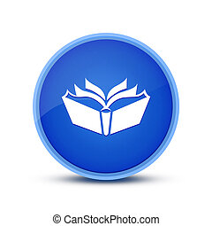 Book icon isolated on glassy blue round button abstract