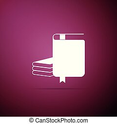 Book icon isolated on purple background. Flat design. Vector Illustration
