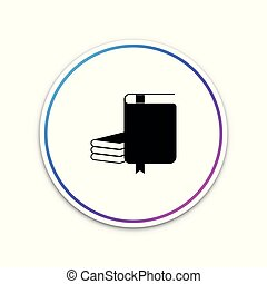 Book icon isolated on white background. Circle white button. Vector Illustration
