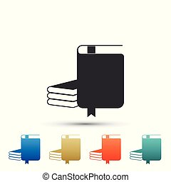 Book icon isolated on white background. Set elements in colored icons. Flat design. Vector Illustration