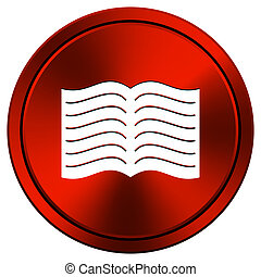 Book icon - Metallic icon with white design on red ...