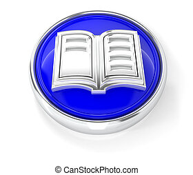 Book icon on glossy blue round button