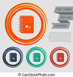 book Icon on the red, blue, green, orange buttons for your website and design with space text. Vector
