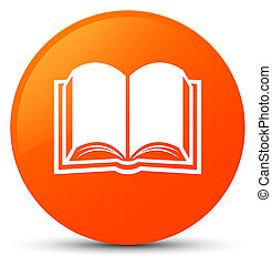 Book icon orange round button