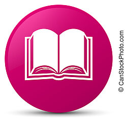 Book icon pink round button