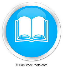 Book icon premium cyan blue round button