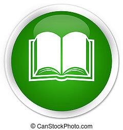 Book icon premium green round button