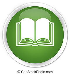 Book icon premium soft green round button