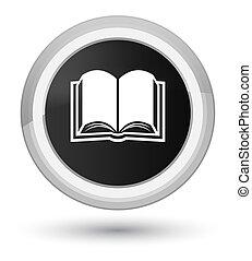 Book icon prime black round button