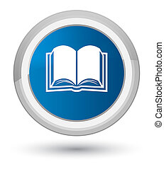 Book icon prime blue round button