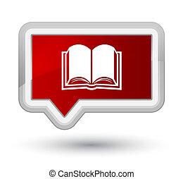 Book icon prime red banner button