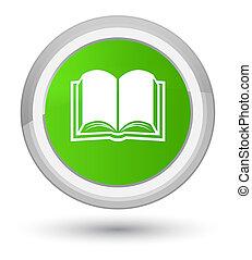 Book icon prime soft green round button