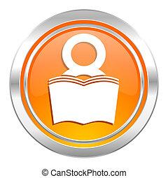 book icon, reading room sign, bookshop symbol