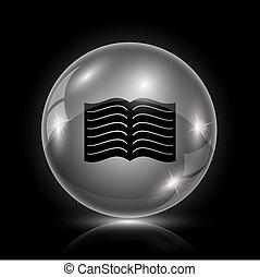 Book icon - Shiny glossy icon - glass ball on black ...