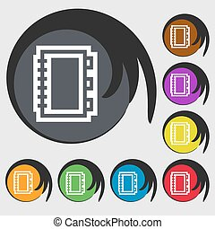 Book icon sign. Symbol on eight colored buttons. Vector