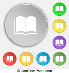Book icon sign. Symbol on eight flat buttons. Vector