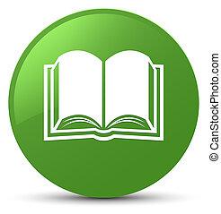 Book icon soft green round button