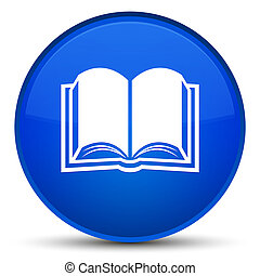 Book icon special blue round button