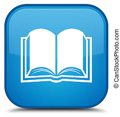 Book icon special cyan blue square button