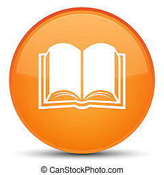 Book icon special orange round button