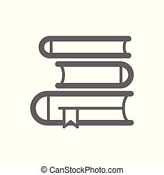 Book icon. Three books of different thickness lying on each...