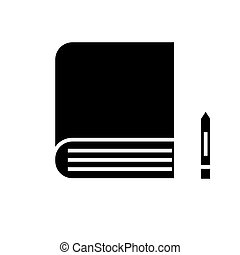 book icon, vector illustration, black sign on isolated background
