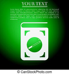 Book icon with cigarette flat icon on green background. Vector Illustration