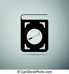 Book icon with cigarette flat icon on grey background. Vector Illustration