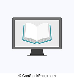 Book icon with gray computer on white background