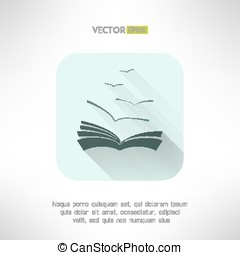 Book icon with seagulls made in modern flat design. Learning...