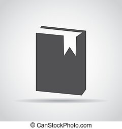 Book icon with shadow on a gray background. Vector illustration