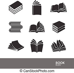 Book icons - book silhouette icon set, vector illustration
