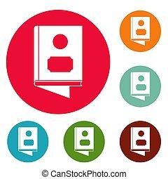 Book icons circle set