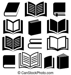 Book icons - Black vector book icons collection on white...