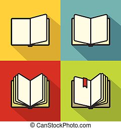 Book icons in flat line style