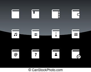 Book icons on black background.