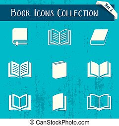 Vector book icons retro collection isolated on blue background