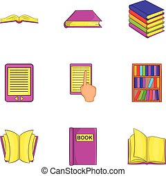 Book icons set, cartoon style