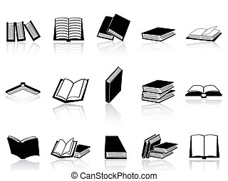 book icons set - isolated book icons set from white...