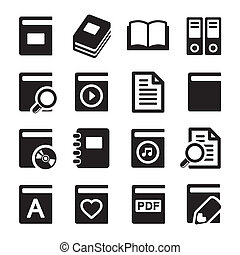 Book icons set on white background. Vector.