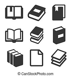 Book Icons Set on White Background. Vector