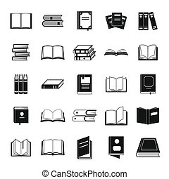 Book icons set, simple style
