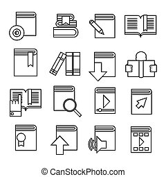 Book icons set. Trendy flat style for graphic design, web-site. Stock Vector illustration.