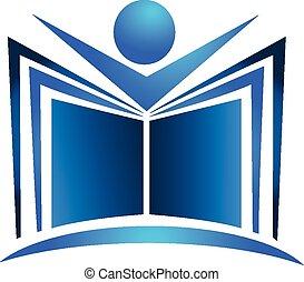 Book illustration blue swoosh logo - Book illustration blue...