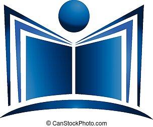 Book illustration logo - Book illustration blue figure icon...