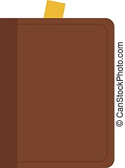 Book in a brown leather cover vector flat isolated